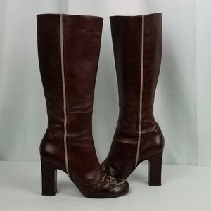 Dior Brown Leather Chunky  Heels Knee High Boots